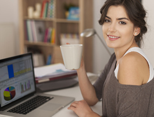 Beautiful woman has break from working at home