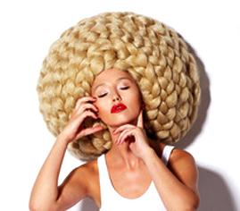 Eccentric Woman in Original Futuristic Braided White Wig. Fancy