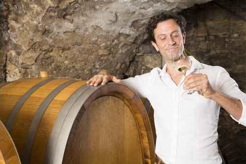 Mann im Weinkeller Weinprobe